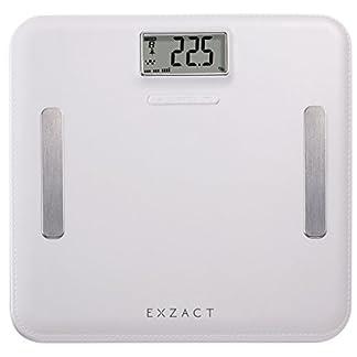 EXZACT Elite Cuero-Mirada Plataforma/ Analizador Corporal / Báscula Personal Electronica / Báscula de Baño Digital – Grasa Corporal / Hidratación / Músculos Corporal/ Hueso – emoria para 12 usarios- Capacidad Extra Grande: 180 kg / 400 lb (Blanco)