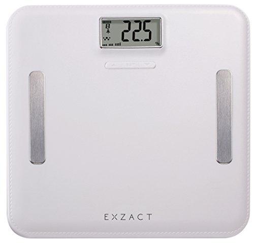 EXZACT Elite Leder-Optik (Lederoptik) Plattform - Körperanalyse / Elektronische Personenwaage / Digitale Badezimmerwaage - Körperfett/ Wasseranteil/ Körpermuskulatur/ Knochen - 12 Benutzerspeicher - Extra hohe Kapazität: 180 kg / 400 lb (Weiß)