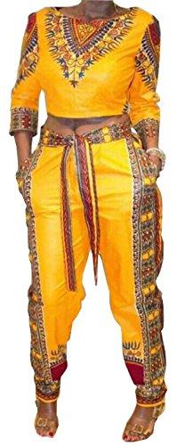 GLADTHINK Damen Afrikanisch Dashiki Kaftane 3/4 Ärmel Kulturell Kleid Oben und Hose Gelb S