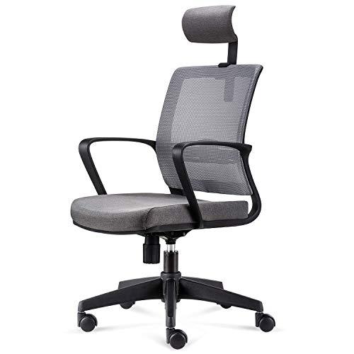INTEY Bürostuhl Ergonomischer Drehstuhl, Schreibtischstuhl, Meetingraum Stuhl, Verstellbarer Chefsessel, Atmungsaktives Mesh, Belastbar bis 110kg, Grau