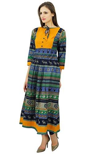 Bimba Anarkali de coton imprimé kurti joug maxi robe de boho des femmes Multicolore