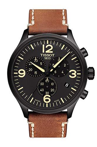 Tissot Herren-Armbanduhr 45mm Armband Leder Braun Batterie T116.617.36.057.00