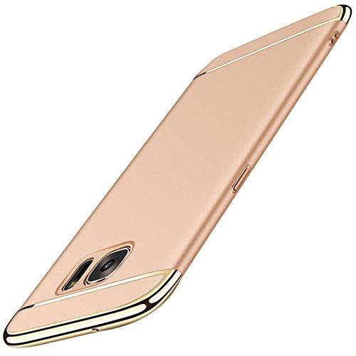 Samsung Galaxy S6 Hülle, Hardcase 3 in 1 Handyhülle 360 Grad Full Body Schutz Hart Schrubben PC mit Plating Kappen Sehr Dünn Cover Schutzhülle Case für Galaxy S6 (5.1 zoll) (Gold) (Kappe Cover)