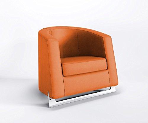 Ruhesessel Noble A Clubsessel Relaxsessel Loungesessel Kunstleder Valencia, Farbe:V6019 - Orange