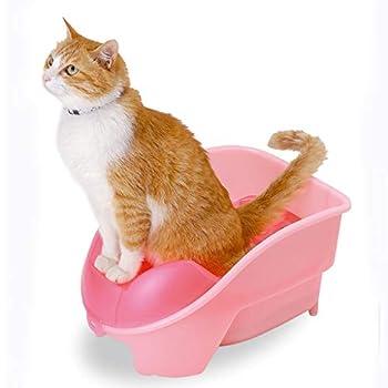 Wcx Rotin Toilette Chat,31x42.5x22.5cm Litière pour Chats Accrocher Chat Toilette Semi-fermé Possession Prévention des Éclaboussures Bleu Rose (Couleur : Bleu)