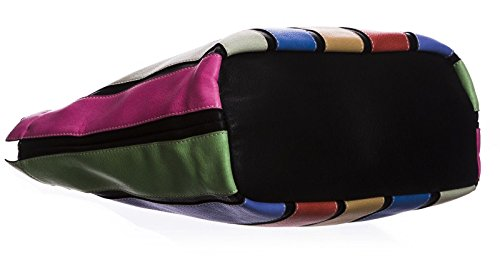 Big Handbag Shop borsa a tracolla in plastica con più lunghe strisce colorate (nero)