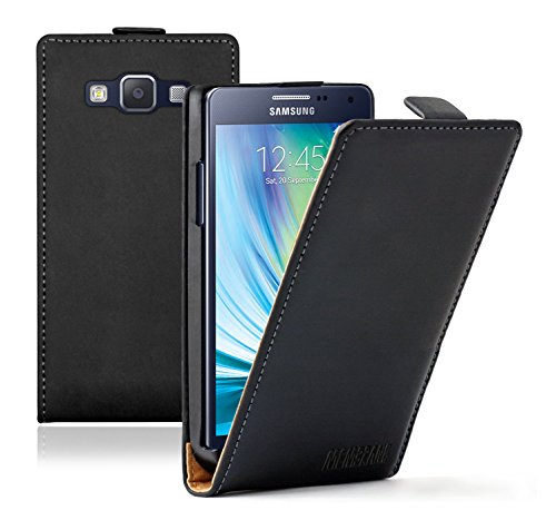Membrane - Ultra Slim Schwarz Klapptasche Hülle Samsung Galaxy A5 2015 (SM-A500F) - Flip Case Cover Schutzhülle
