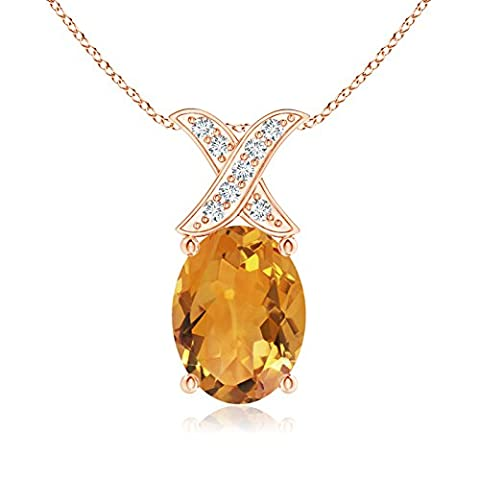 Solitaire Oval Citrine and Diamond XO Pendant in 14K Rose