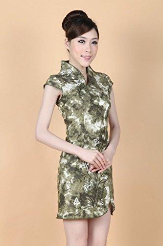 Bigood Rétro Style Robe Femme Cheongsam Soirée Manche Courte Imprimé Vert