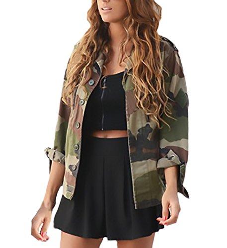 Donna giacca invernali autunno militare mimetica giubbotto elegante moda giovane vintage casual manica lunga revers button cappotto casuale outdoor army hippie stampata giacche cappotti giubbino
