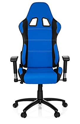 hjh OFFICE 729330 silla gaming GAME FORCE tejido negro / azul silla de oficina reclinable silla escritorio