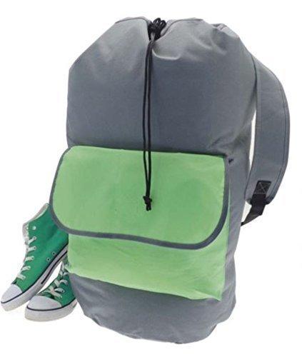 Sac à linge Motif sac de sport, le moyen facile à ranger et à transporter tout votre linge (Vert/gris)