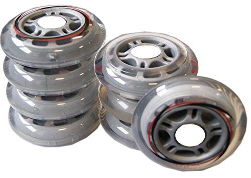 Inliner Rollen-Set ohne Kugellager (8Stück-1Satz) (Größe/Farbe/Inhalt: 70mm / 80a Härte - transparent - 8 Stück)