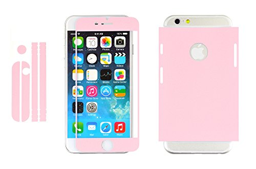 iprotect Screen Fully Body Protector Folien Set für Apple iPhone 4, 4s Displayschutz mit Rahmen in Eleganter Kunstleder Optik in Rosa 0,3mm