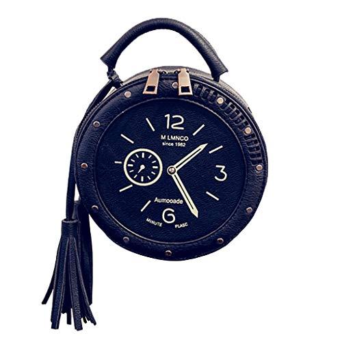 Strand-szene Stoff Handtaschen (Damen Umhängetasche Shoulder Bag Handtasche Schultertasche Satchel Schulter Handbag Rucksack,Rund Retro Uhr Quaste Handy Geldbörse Tasche)