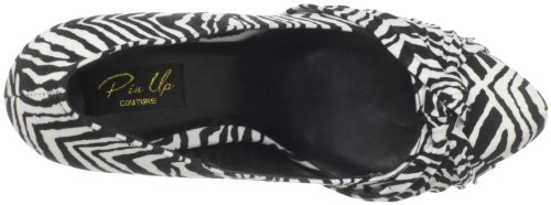 Pin Up Couture Plateau Pumps SAFARI-06 Blk-Wht Zebra Print Velvet