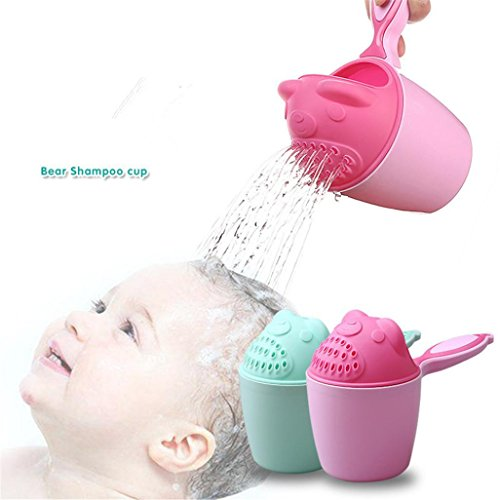 Sansee Shampoo Rinse Cup, Baby Spoon Shower Kitchen Bath Water Swimming Bailer Shampoo Cup Children's Products (Pink)
