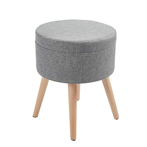 Zedelmaier Sitzhocker Aufbewahrungsbox Stuhl Ottoman Polstersitz aus Leinen und Massivholz (Grau)