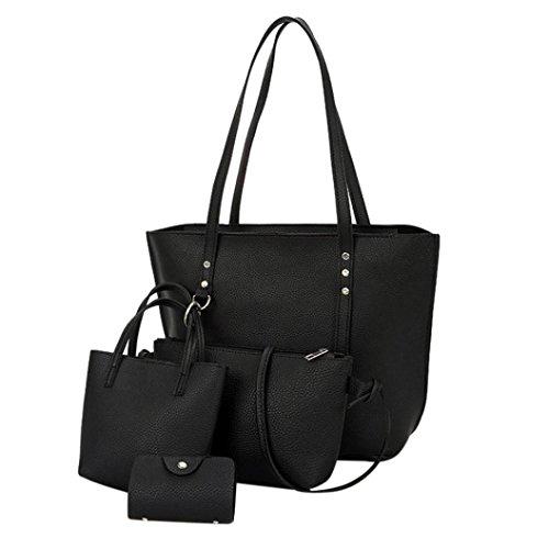 Byste donna borsa set, 4pcs semplice borsa a spalla cinghia borsetta borse a tracolla borsa tote alta capacità portatile borsa + crossbody borse + portafoglio + pacchetto di carte (nero)