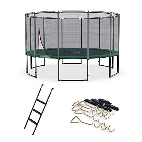 Ampel 24 Deluxe Outdoor Trampolin 490 cm komplett mit Netz, Leiter & Windsicherung, XXL Gartentrampolin Belastbarkeit 180 kg