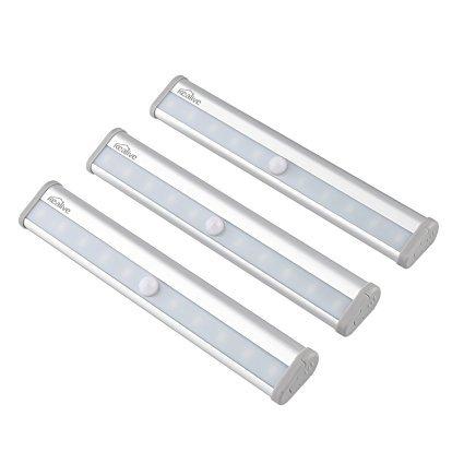 Kealive Schrankleuchte, Bewegungsmelder Licht mit 10 LED Leuchten, Wireless Kabinett ,mit tragbarem Magnetstreifen für Schrank, Treppen, Garage, Weg, Wand, usw (3 Set, LT-KW1)
