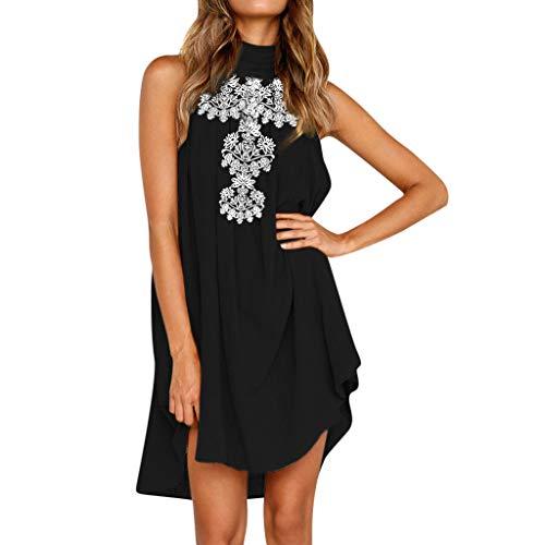 POPLY Frauen Holiday Unregelmäßige Kleid Damen Sommer Strand ärmelloses Druck Womens Partykleid
