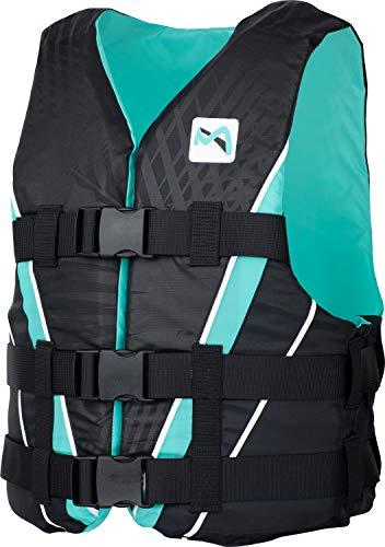 MESLE Auftriebs-Weste V210 W, Damen, XS-XL, schwarz-Aqua, 50-N Schwimmhilfe mit Prallschutz, für Frauen und Mädchen, Wasserski Wakeboard Impact-Weste, Nylon, Boot Jet-Ski Yacht, Größen:M -