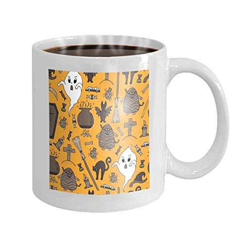 Funny Coffee Mug 11 Oz Ceramic White Coffee Mug hand drawn halloween colorful doodles hand drawn halloween colorful doodles Creative