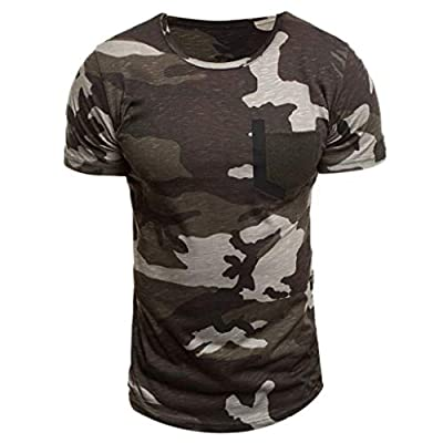ADESHOP Men's New Summer Casual Camouflage Printing Elastic Short Sleeve T-Shirt Tops