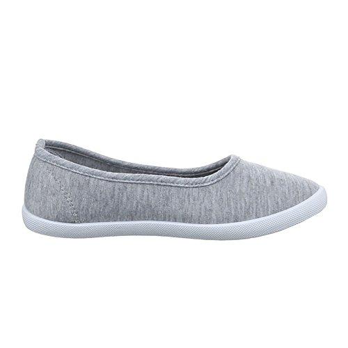Damen Schuhe, 943-Y-1, HALBSCHUHE SLIPPER FREIZEITSCHUHE Grau