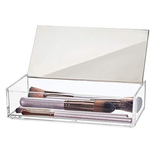 mDesign Kosmetik Organizer – kleine Aufbewahrungsbox für Eyeliner, Mascara und andere Schminkutensilien – Box mit Deckel und Spiegel – auch für Schmuck geeignet – durchsichtig/mattsilberfarben
