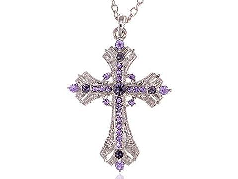 Alilang Argenté religieux Croix pendentif Collier W/lavande Cristal Violet Strass