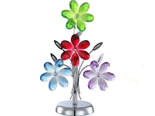 Lampe de table luminaire multicolor fleurs acryliques chrome floral éclairage