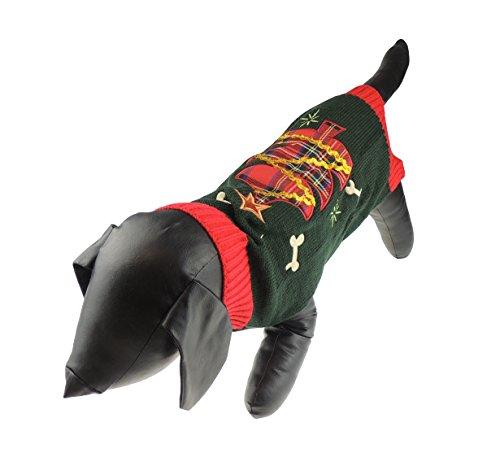 rest grün Tartan Weihnachten Baum Hund Katze Warm Winter Knit Jumper ()