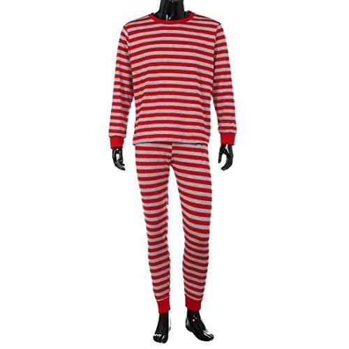 Upxiang Familie Matching Weihnachten Pyjamas Set, Gestreifte Bluse + Hosen, Herren Frauen und Kinder, Daddy Mama und kleine Baby Match Family Pyjamas (XL, Herren-Rot)