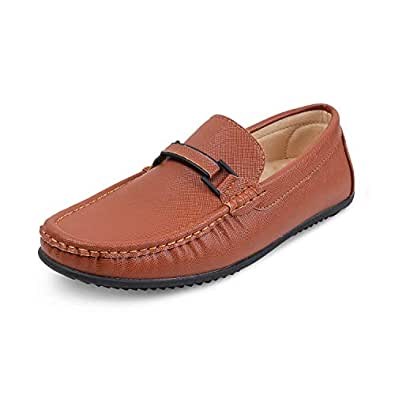 tresmode Tan Driving Loafers for Men