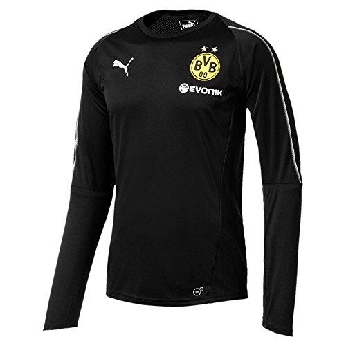 Puma Fußball Borussia Dortmund Langarm Training Trikot BVB Kinder Tainingsshirt Schwarz Gr 176