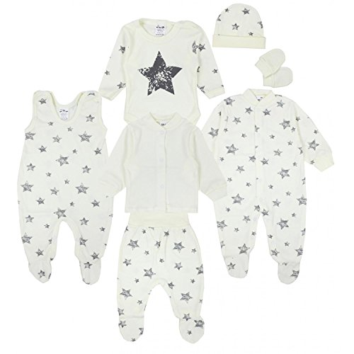 TupTam Baby Bekleidungsset Erstausstattung Sterne 7 teilig, Farbe: Graue Sterne Ecru, Größe: 56