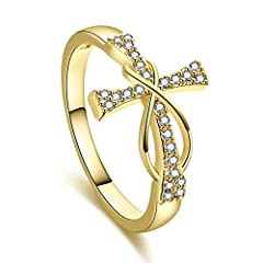 Idea Regalo - Zara WebsterZar, Anello da Donna in Oro Giallo 14 ct, con crocifisso Infinito, Anello Bianco per Matrimonio e Fidanzamento e Rame, 17, cod. GXFICUH8188