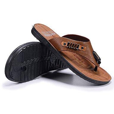 Slippers & amp da uomo;Estate Luce Soles similpelle all'aperto casual tacco basso scuro marrone chiaro sandali US10 / EU43 / UK9 / CN44
