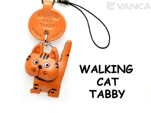 Cat Handy-charme (Gestromt Walking Cat Leder Cat Waren Mobile/Handy Charme Vanca Windhund Cute Maskottchen Made in Japan)