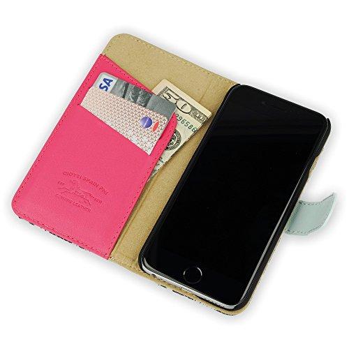 QIOTTI >             Apple iPhone 6 PLUS / iPhone 6S PLUS (5,5&quot;)             < incl. PANZERGLAS H9 HD+ Booklet Wallet Case Hülle Premium Tasche aus echtem Kalbsleder und Japanischen Denim mit KARTENFÄCHER. CATCH KOLLEKTION ( BLAU