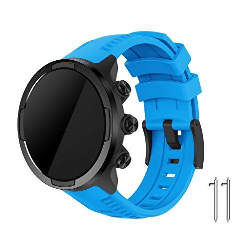 für SUUNTO 9/ Baro Smart Watch Armband, Silikon Replacement Uhrenarmband Sportarmband Band Erstatzband mit Schließe Sports Soft Silikon Ersatzband Armbänder Wristband Ersatzband Straps (Blau)