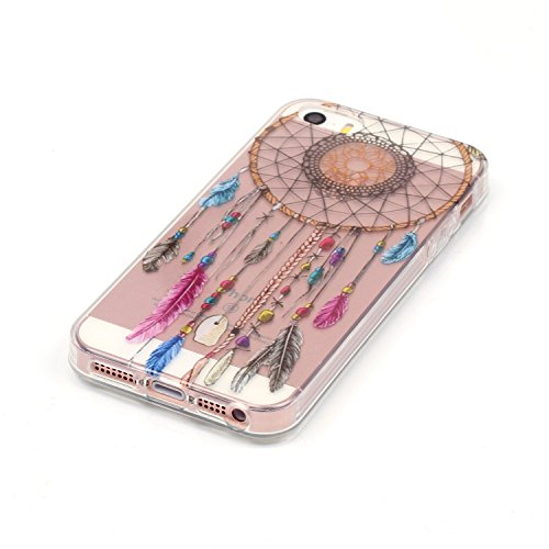 Qiaogle Téléphone Coque - Soft TPU Silicone Housse Coque Etui Case Cover pour Apple iPhone 5C (4.0 Pouce) - XS16 / Bleu Papillon XS17 / Dreamcatcher + windbell