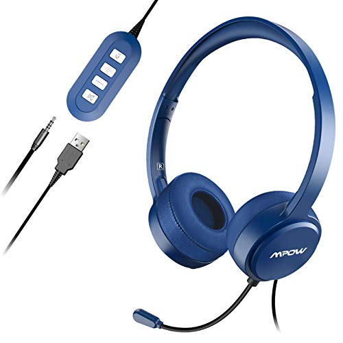 Mpow PC Headset Klinke Headset mit Mikrofon USB Headset/3.5mm Chat Headset Stereo Sound Computer Headset Telefon Headset für Skype Teamspeak Mac PC Smartphone Tablet. (Telefon-headset Und Mikrofon)