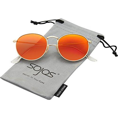 Sojos occhiali da sole da uomo e donna polarizzati rotondi vintage retro specchiati protezione uv sj1014 con oro telaio/arancia lente