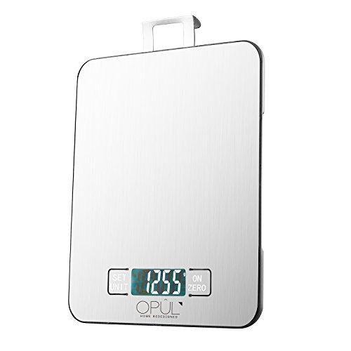 Opul Bilancia da Cucina Elettronica - Bilancia Digitale per Alimenti con Timer, Funzione Orologio - Portata 15 Kg di Alta Precisione con Funzione Tara – Bilance da Cucina in Acciaio Inox