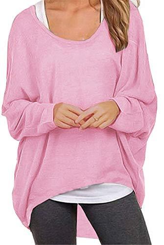 Meyison Damen Lose Asymmetrisch Sweatshirt Pullover Bluse Oberteile Oversized Tops T-Shirt Rosa XXL - Weiß-rosa T-shirt