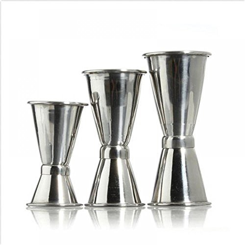 1 Pack mit 3 Größe Jigger Single Double Shot Cocktail Wein Kurz Messen Cup von GOOTRADES Drink Bar Party
