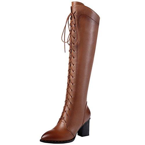 AIYOUMEI Damen Winter Leder Kniehohe Stiefel mit 7cm Absatz und Schnürung Eelgant Winter Knee High Boots (Schaft-stiefel Kniehohe)